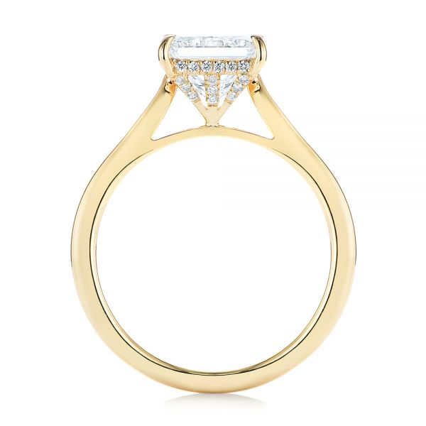 14k Yellow Gold Princess Cut Diamond Engagement Ring - Front View -