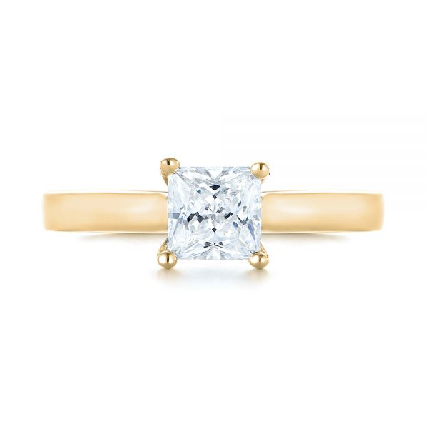 18k Yellow Gold 18k Yellow Gold Princess Cut Diamond Engagement Ring - Top View -