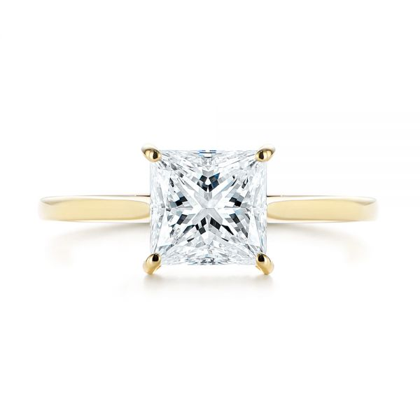 14k Yellow Gold Princess Cut Diamond Engagement Ring - Top View -