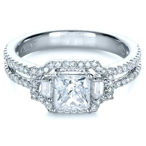 Princess Cut Halo Diamond Engagement Ring - Vanna K