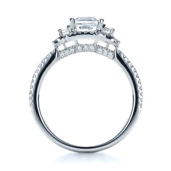 18k White Gold Princess Cut Halo Diamond Engagement Ring - Vanna K - Front View -