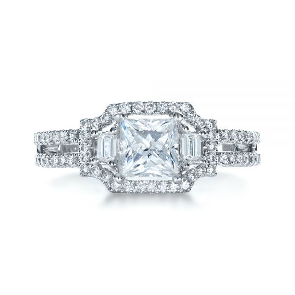18k White Gold Princess Cut Halo Diamond Engagement Ring - Vanna K - Top View -