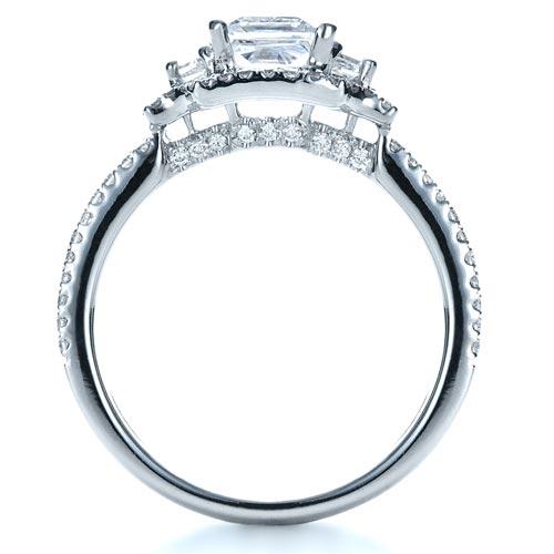 Princess Cut Halo Diamond Engagement Ring - Vanna K - Finger Through View