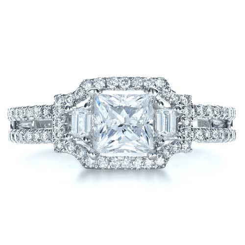 princess cut halo engagement ring vanna k 1313