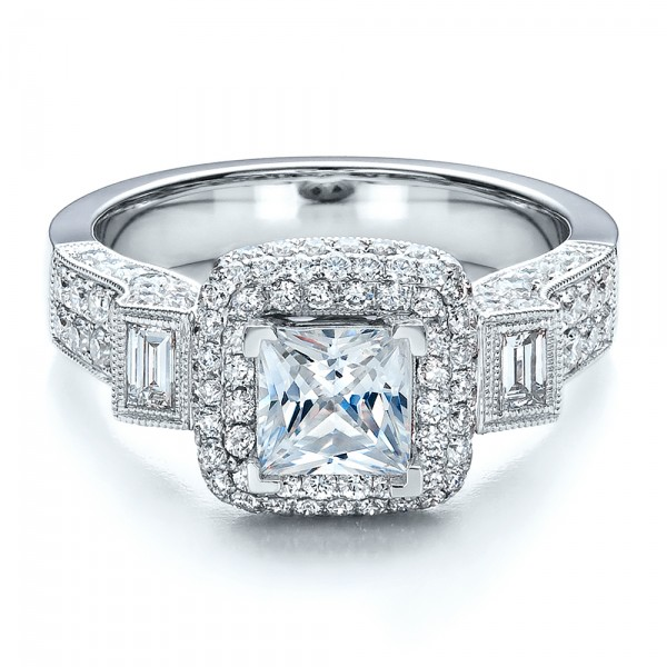 Princess Cut Diamond Halo Engagement Ring - Vanna K