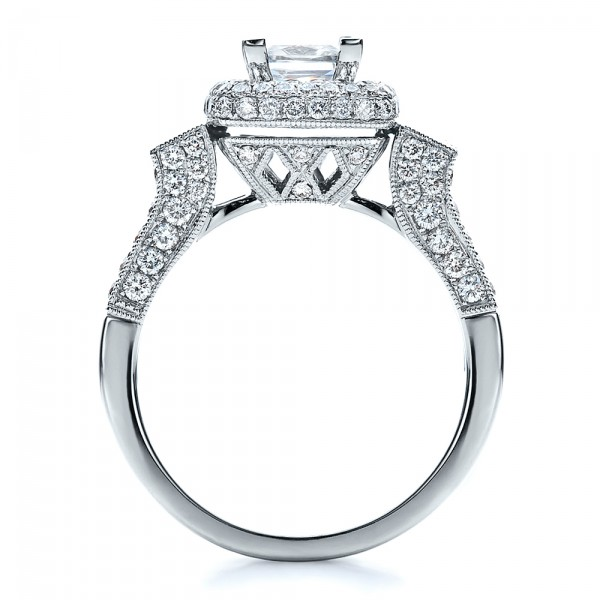 Princess Cut Diamond Halo Engagement Ring - Vanna K - Finger Through View