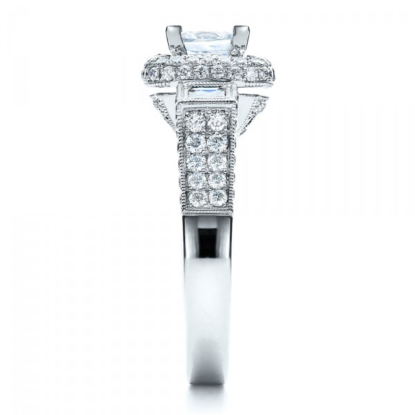 Princess Cut Diamond Halo Engagement Ring - Vanna K - Side View