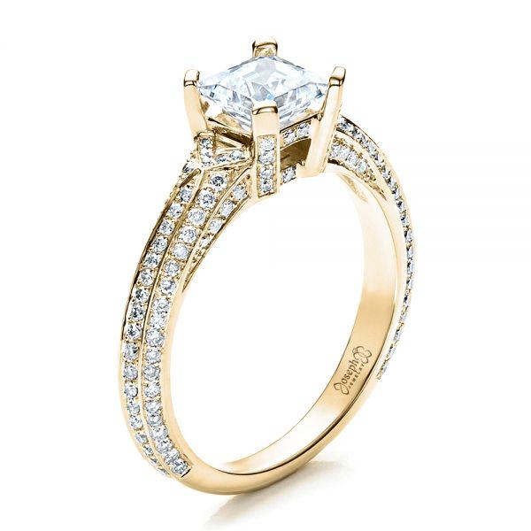 c1062eeb07aac 14k Yellow Gold Princess Cut Pave Engagement Ring #1467 - Seattle ...