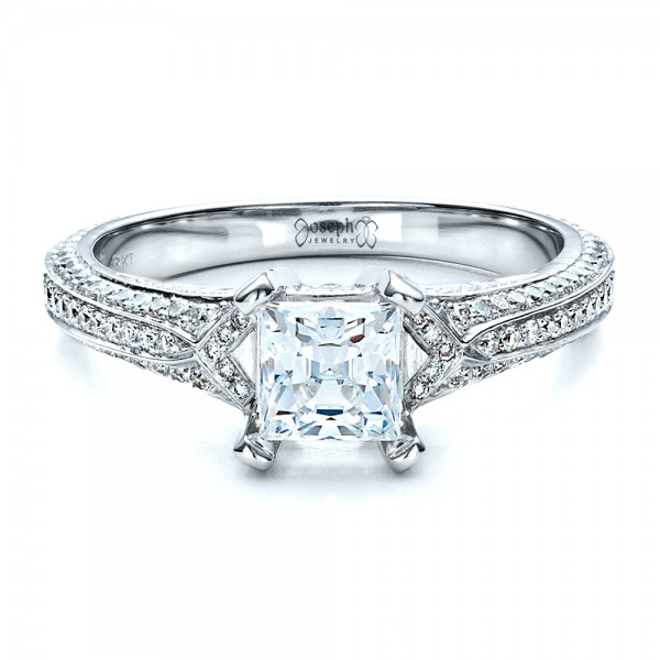 Princess Cut Pave Engagement Ring