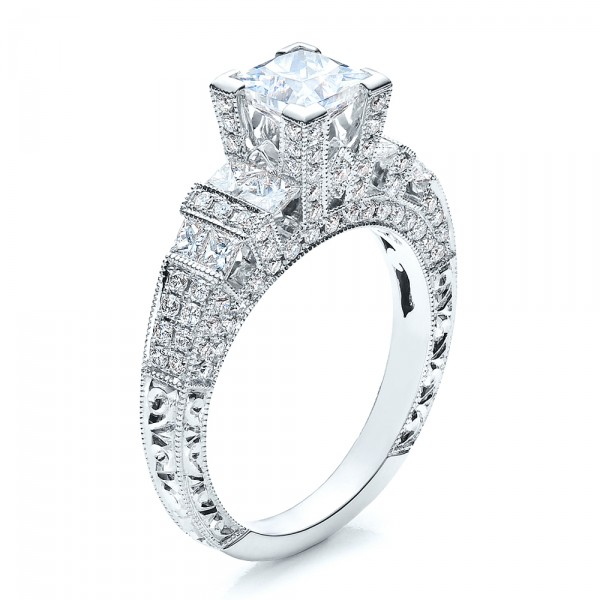 Princess Cut Side Stones Engagement Ring - Vanna K