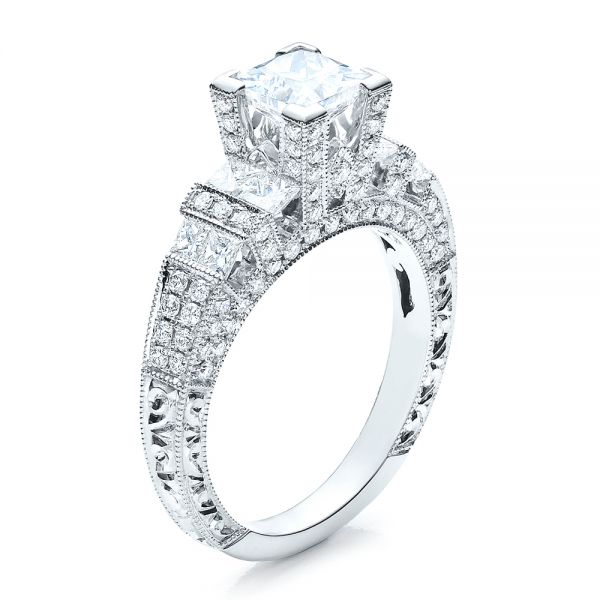 18k White Gold Princess Cut Side Stones Engagement Ring - Vanna K - Three-Quarter View -