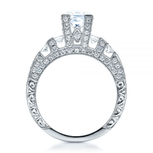 18k White Gold Princess Cut Side Stones Engagement Ring - Vanna K - Front View -