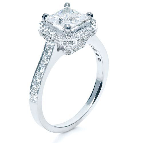 Beautiful Wedding Rings.Princess Cut With Diamond Halo Engagement Ring