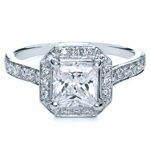 ... Engagement Rings › Princess Cut with Diamond Halo Engagement Ring