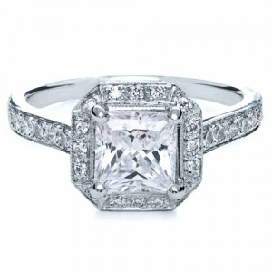 Princess Cut with Diamond Halo Engagement Ring