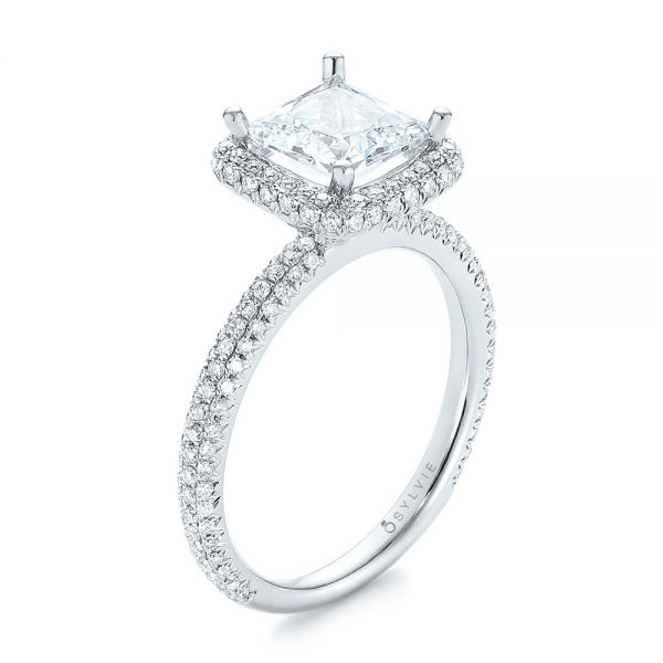 Princess Diamond Halo Engagement Ring - Image
