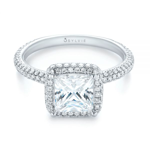 Princess Diamond Halo Engagement Ring - Flat View -  103998 - Thumbnail