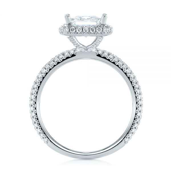 Princess Diamond Halo Engagement Ring - Front View -  103998 - Thumbnail