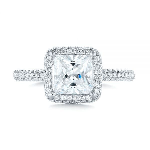 Princess Diamond Halo Engagement Ring - Top View -  103998 - Thumbnail