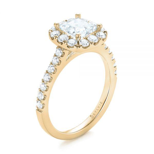 Engagement Rings Jewellery Quarter: 14k Yellow Gold Princess Diamond Halo Engagement Ring