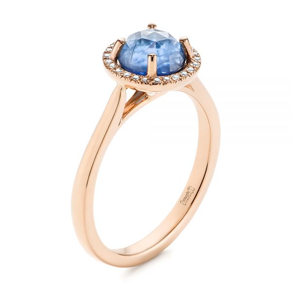 Rose Cut Blue Sapphire and Diamond Halo Engagement Ring - Image