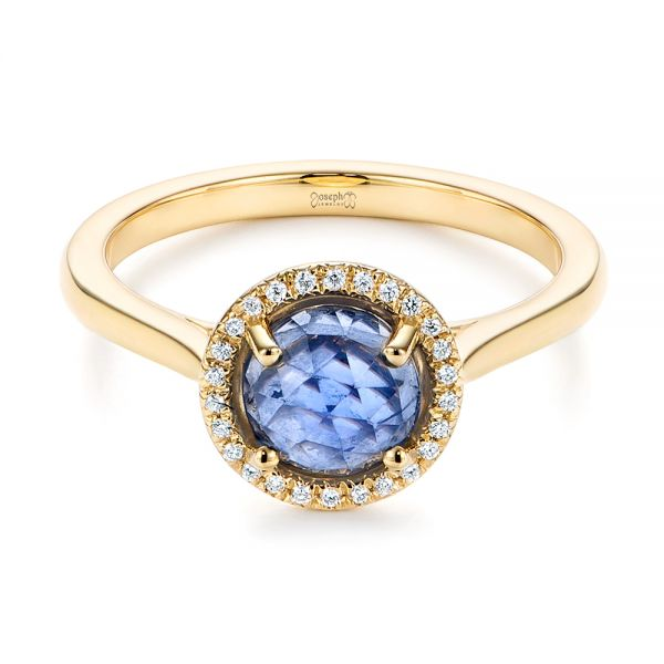 14k Yellow Gold Rose Cut Blue Sapphire And Diamond Halo Engagement Ring - Flat View -  105859