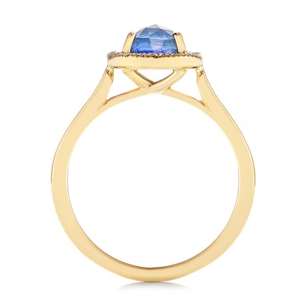 14k Yellow Gold Rose Cut Blue Sapphire And Diamond Halo Engagement Ring - Front View -  105859