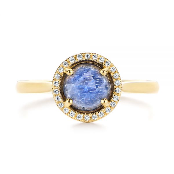 14k Yellow Gold Rose Cut Blue Sapphire And Diamond Halo Engagement Ring - Top View -  105859