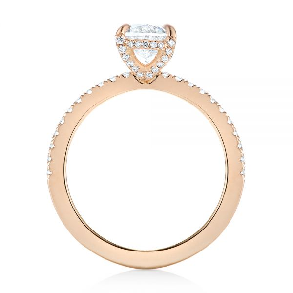 18k Rose Gold Diamond Engagement Ring - Front View -