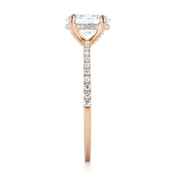 18k Rose Gold Diamond Engagement Ring - Side View -