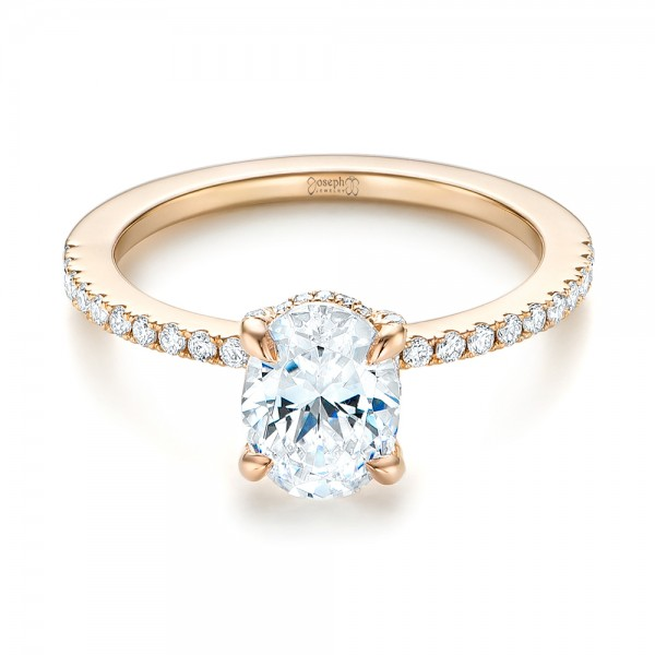 Rose Gold Diamond Engagement Ring - Laying View