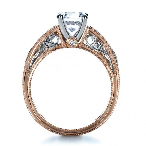 Rose Gold Diamond Engagement Ring - Finger Through View