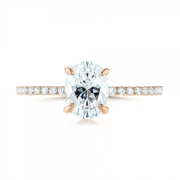 Rose Gold Diamond Engagement Ring - Top View