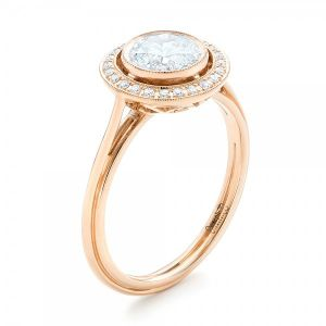 Rose Gold Diamond Halo Engagement Ring - Image