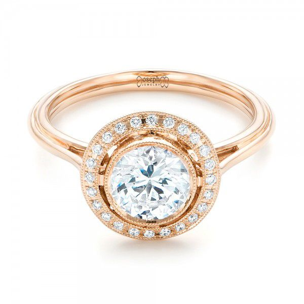 18k Rose Gold Diamond Halo Engagement Ring - Flat View -
