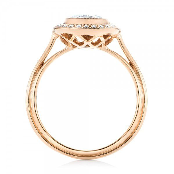 18k Rose Gold Diamond Halo Engagement Ring - Front View -