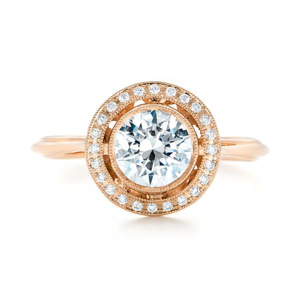 18k Rose Gold Diamond Halo Engagement Ring - Top View -