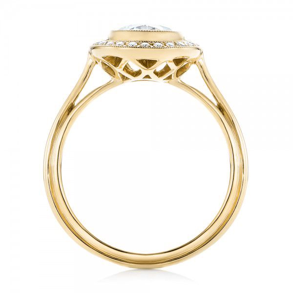 14k Yellow Gold 14k Yellow Gold Diamond Halo Engagement Ring - Front View -