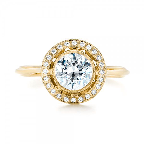 14k Yellow Gold 14k Yellow Gold Diamond Halo Engagement Ring - Top View -