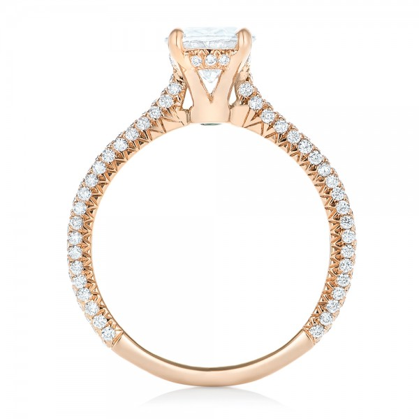 Rose Gold Oval Diamond Engagement Ring - Finger Through View