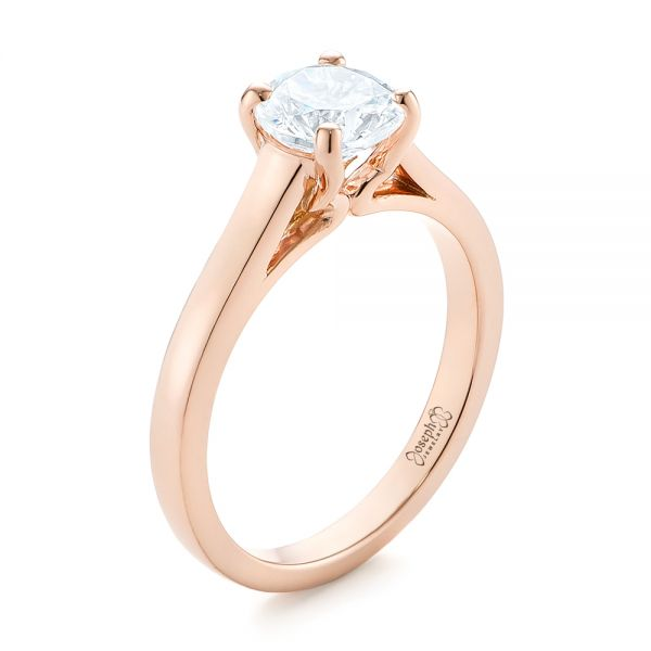 Rose Gold Solitaire Diamond Engagement Ring - Image