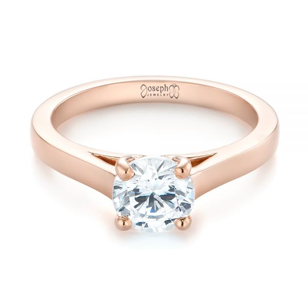 Rose Gold Solitaire Diamond Engagement Ring - Flat View -  104086 - Thumbnail