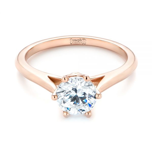 14k Rose Gold Solitaire Diamond Engagement Ring - Flat View -  104173
