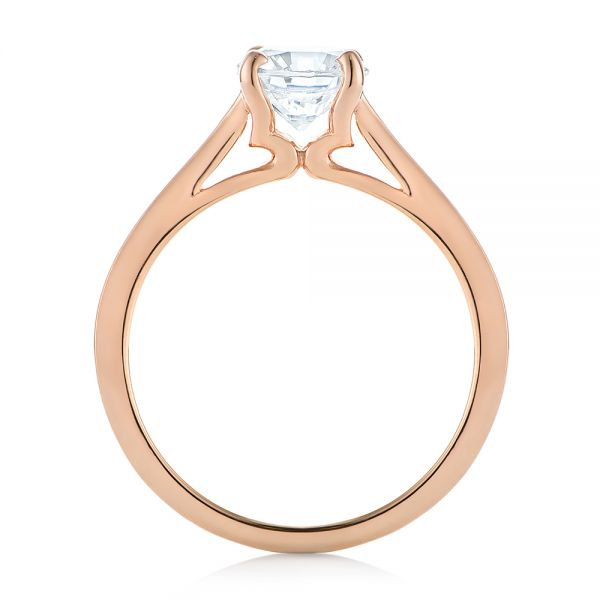 Rose Gold Solitaire Diamond Engagement Ring - Front View -  104086 - Thumbnail