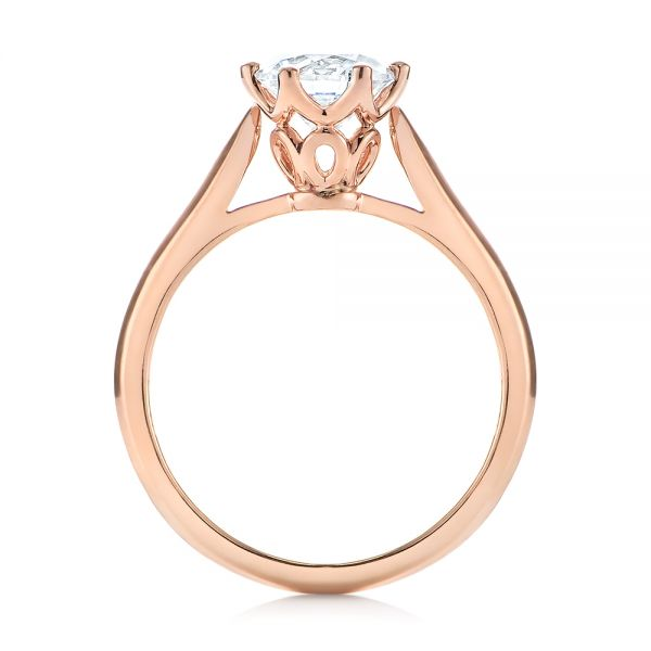 14k Rose Gold Solitaire Diamond Engagement Ring - Front View -  104173