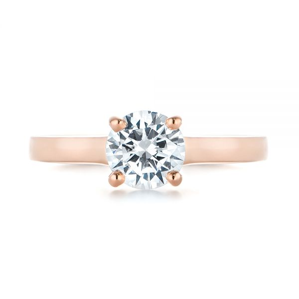Rose Gold Solitaire Diamond Engagement Ring - Top View -  104086 - Thumbnail