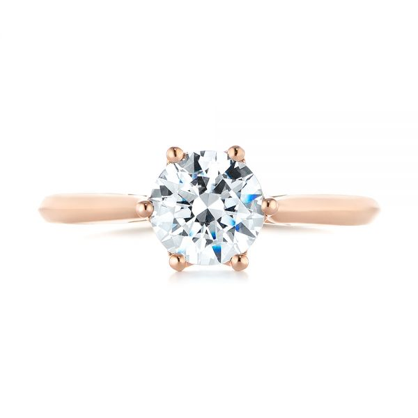 14k Rose Gold Solitaire Diamond Engagement Ring - Top View -  104173