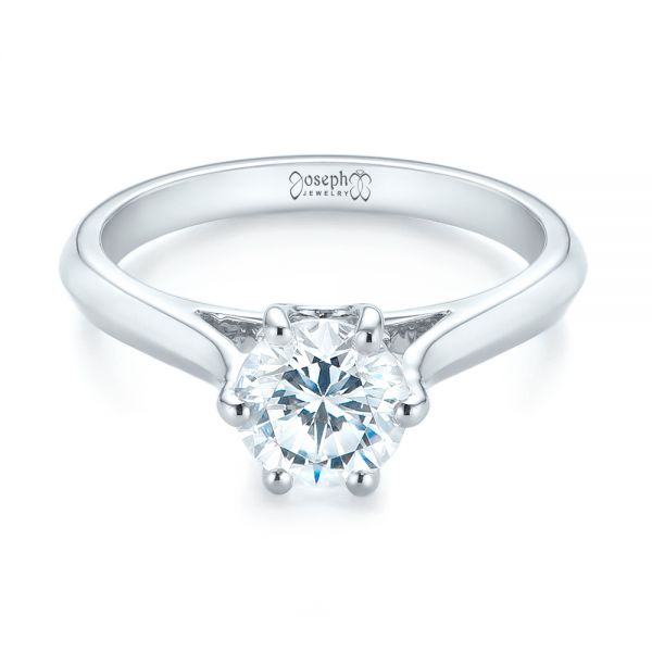 Solitaire Diamond Engagement Ring - Flat View -  104114 - Thumbnail