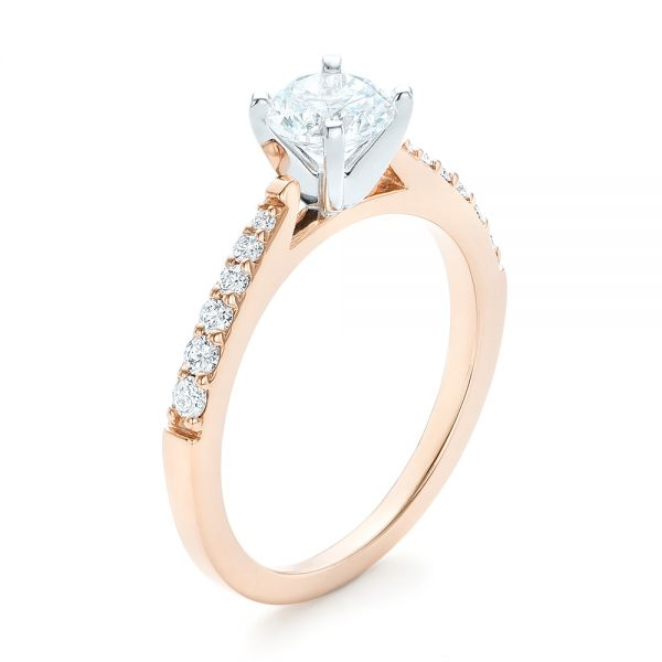 14k Rose Gold And 14K Gold Diamond Engagement Ring - Three-Quarter View -