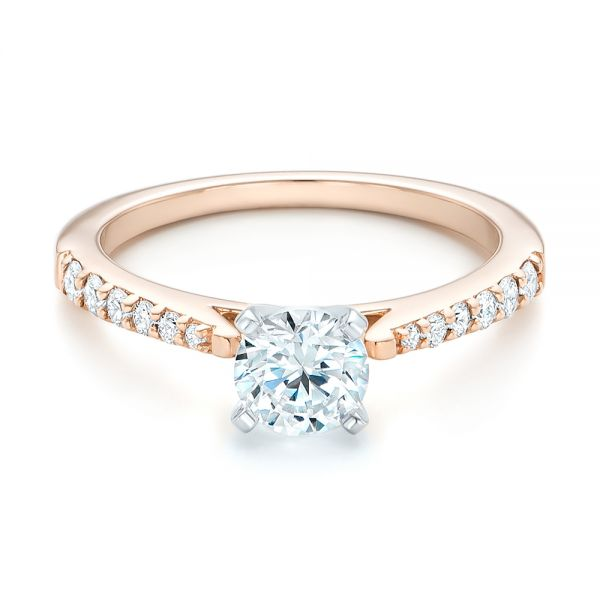 14k Rose Gold And 14K Gold Diamond Engagement Ring - Flat View -